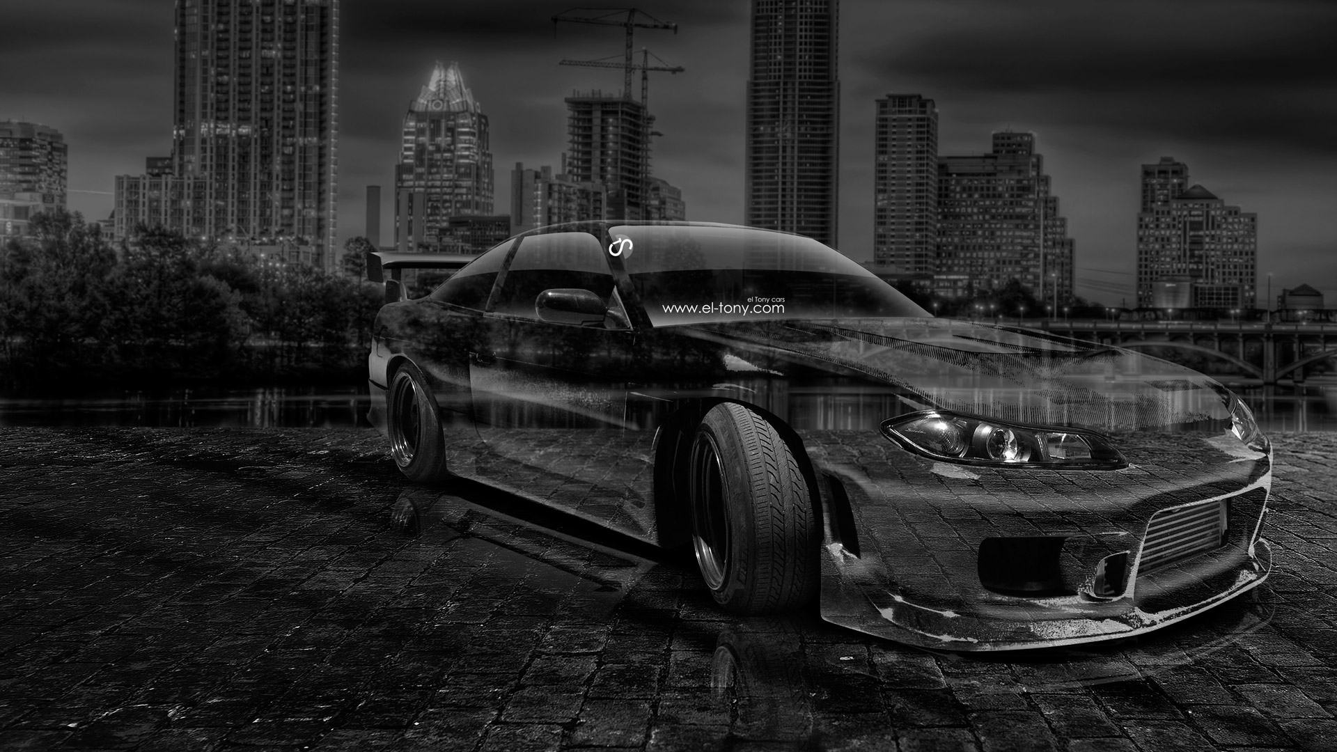Nissan-Silvia-240SX-Facelift-S15-JDM-Crystal-City-Car-2014-Black-White-HD-Wallpapers-design-by-Tony-Kokhan-[www.el-tony.com]
