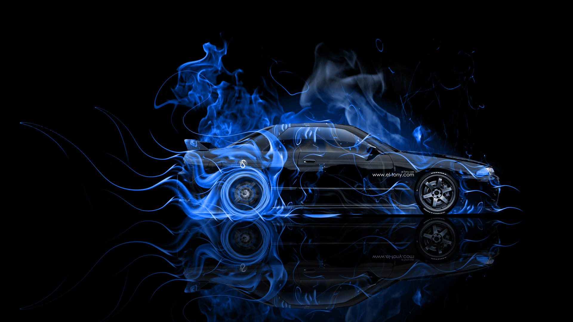 ... Nissan Skyline GTR R32 JDM Side Blue Fire  ...