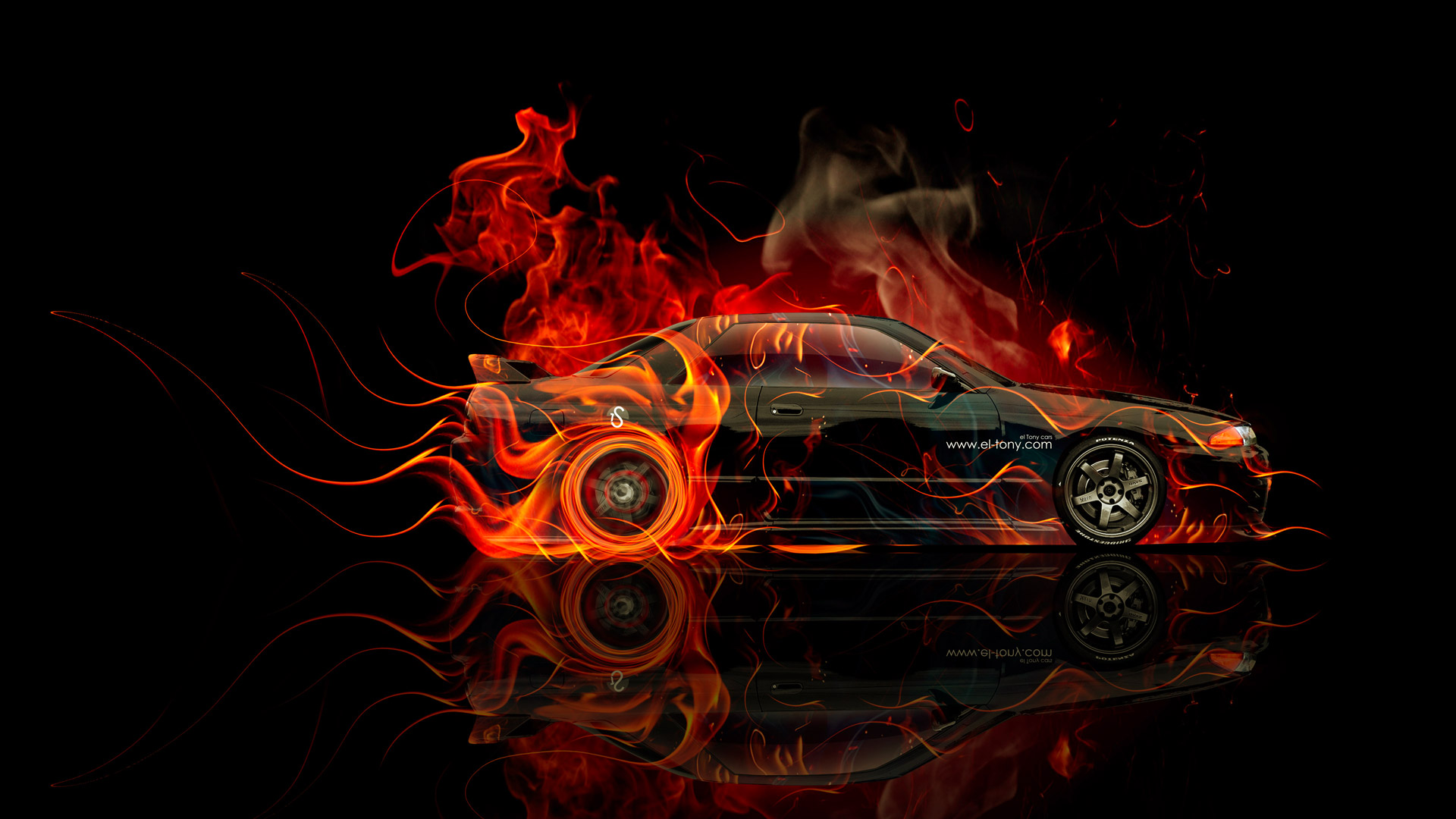 Superior Nissan Skyline GTR R32 JDM Side Fire Abstract