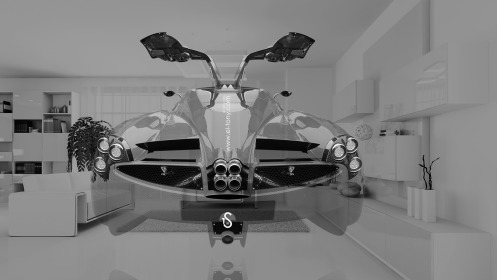 Pagani-Huayra-Open-Doors-BackUp-Crystal-Home-Fly-Car-2014-Black-White-HD-Wallpapers-design-by-Tony-Kokhan-[www.el-tony.com]