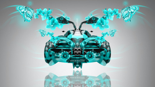 Pagani-Huayra-Open-Doors-BackUp-Fantasy-Fly-Butterfly-Flowers-Car-2014-Azure-Colors-HD-Wallpapers-design-by-Tony-Kokhan-[www.el-tony.com]