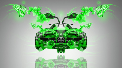 Pagani-Huayra-Open-Doors-BackUp-Fantasy-Fly-Butterfly-Flowers-Car-2014-Green-Colors-HD-Wallpapers-design-by-Tony-Kokhan-[www.el-tony.com]