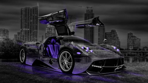 Pagani-Huayra-Open-Doors-Crystal-City-Car-2014-Violet-Neon-HD-Wallpapers-design-by-Tony-Kokhan-[www.el-tony.com]