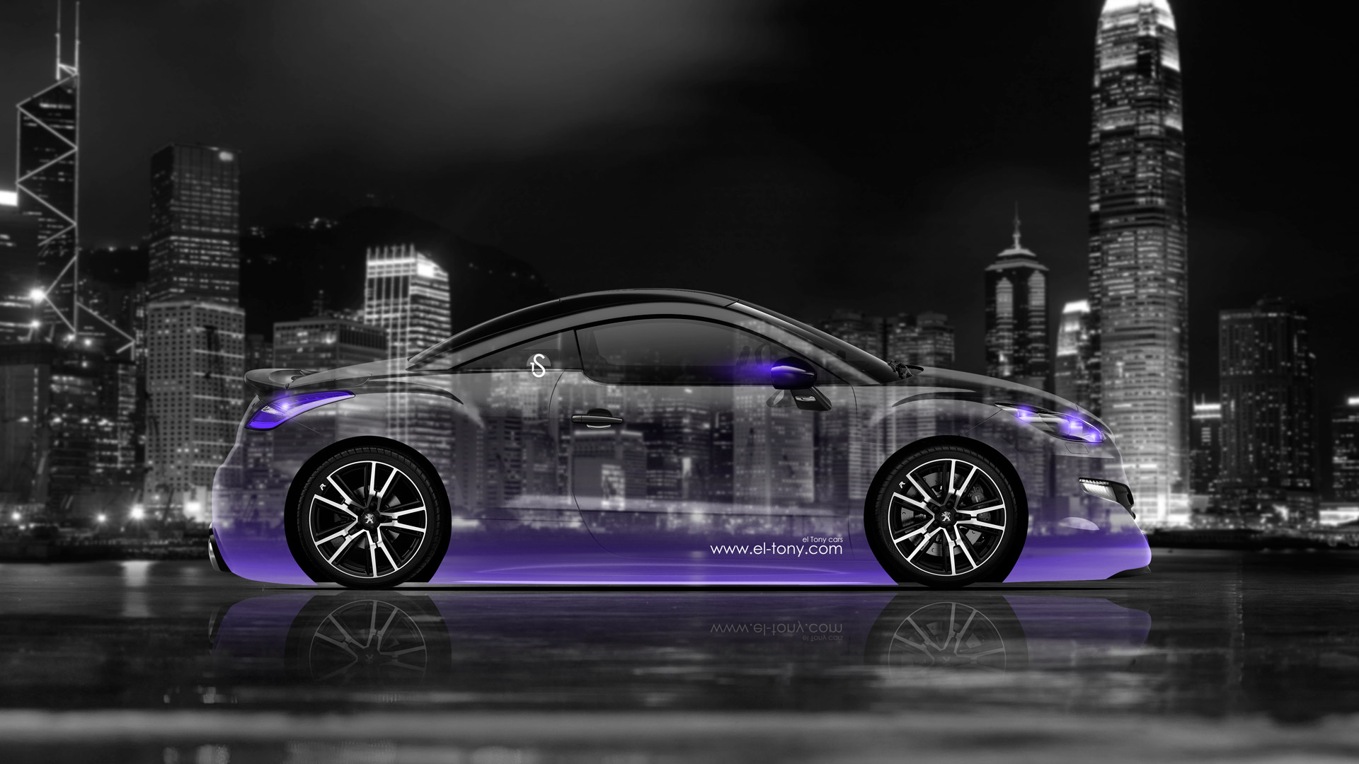 Peugeot RCZ Side Crystal City Car 2014 Violet