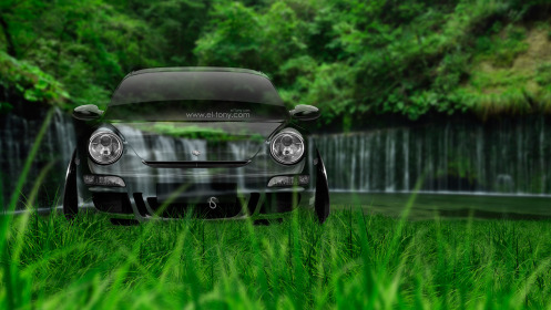 Porsche-911-Front-Crystal-Nature-Car-2014-Green-Grass-HD-Wallpapers-design-by-Tony-Kokhan-[www.el-tony.com]