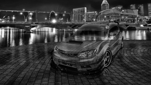 Subaru-Impreza-WRX-STI-JDM-Crystal-City-Car-2014-Black-White-HD-Wallpapers-design-by-Tony-Kokhan-[www.el-tony.com]