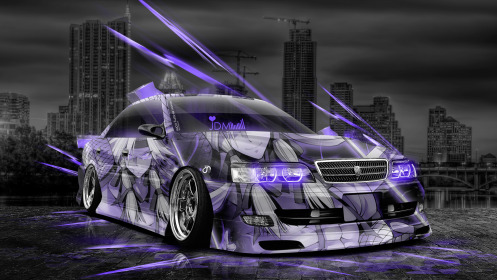 Toyota-Chaser-JZX100-Tuning-Anime-Aerography-City-Car-2014-Photoshop-Art-Violet-Neon-Effects-HD-Wallpapers-design-by-Tony-Kokhan-[www.el-tony.com]