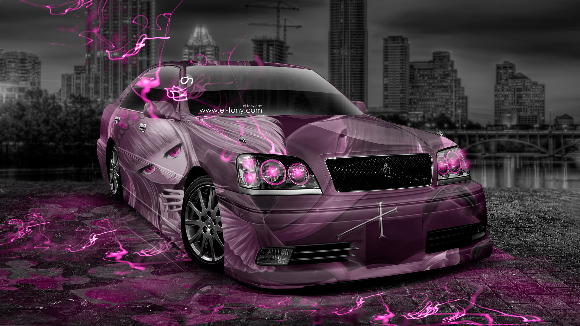 Toyota-Crown-Athlete-JDM-Anime-Girl-Aerography-City-Car-2014-Pink-Neon-Effects-HD-Wallpapers-design-by-Tony-Kokhan-[www.el-tony.com]