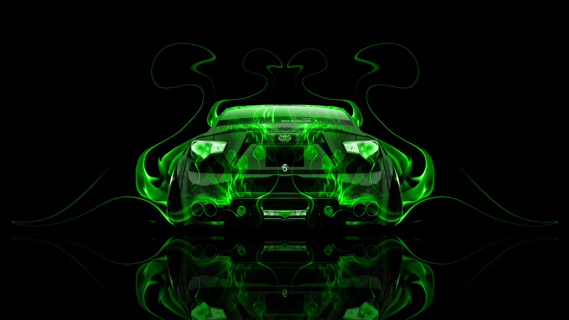 Bon ... Toyota GT86 JDM Tuning Back Green Fire Abstract  ...