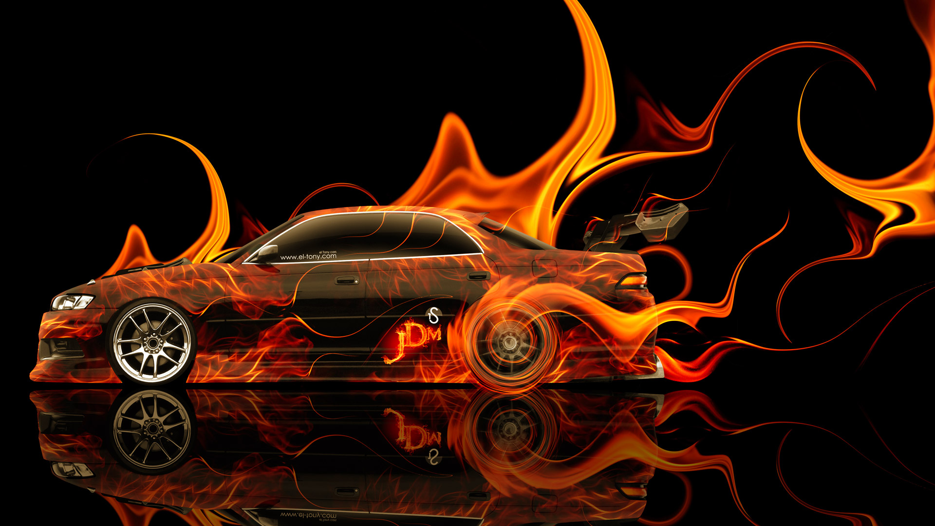 Beau Toyota Mark 2 JZX90 JDM Tuning Side Fire