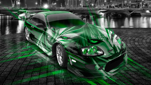 Toyota-Supra-JDM-Anime-Bleach-Aerography-City-Car-2014-Green-Neon-HD-Wallpapers-design-by-Tony-Kokhan-[www.el-tony.com]
