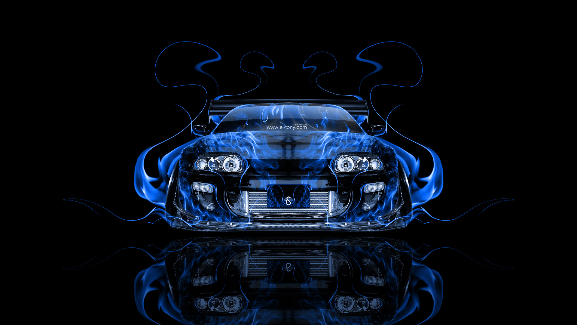 ... Toyota Supra JDM Tuning Front Blue Fire Abstract  ...