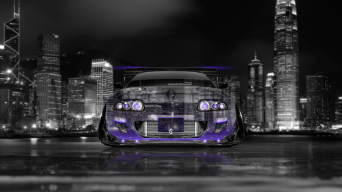 Toyota-Supra-JDM-Tuning-Front-Crystal-City-Car-2014-Violet-Neon-4K-Wallpapers-design-by-Tony-Kokhan-[www.el-tony.com]