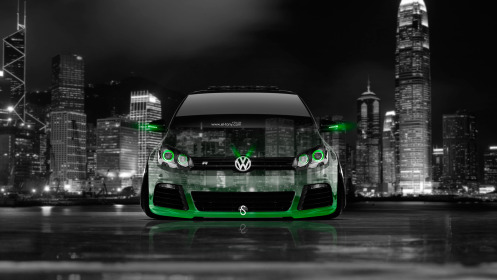 Volkswagen-Golf-R-Front-Crystal-City-Car-2014-Green-Neon-HD-Wallpapers-design-by-Tony-Kokhan-[www.el-tony.com]