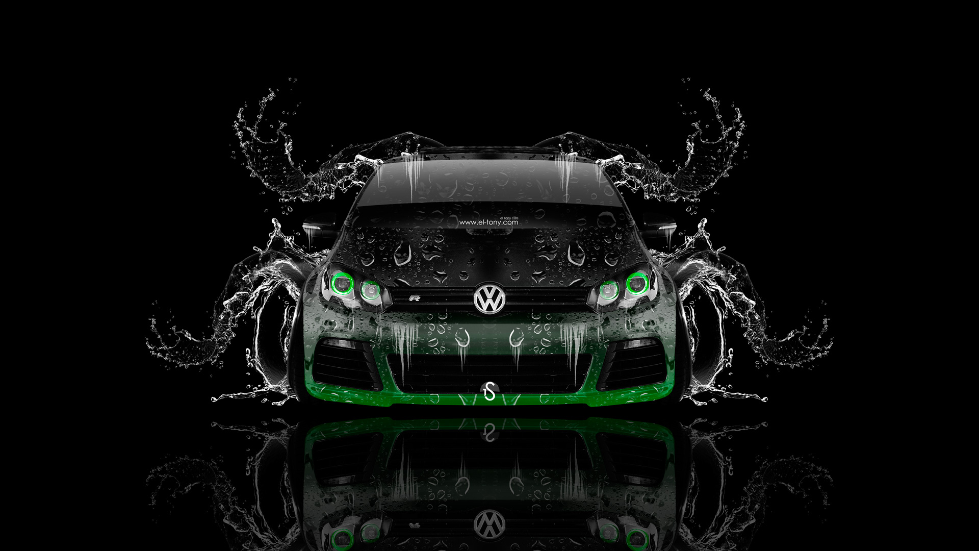 Volkswagen Golf R Front Water Car 2014