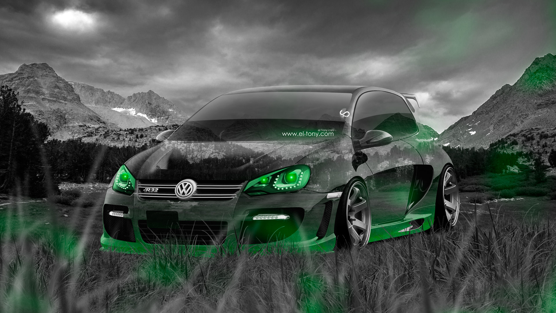 Volkswagen Golf R Tuning Crystal Nature Car Art Green Neon Hd Wallpapers Design By Tony Kokhan Www El Tony Com on 2015 Dodge Sedan