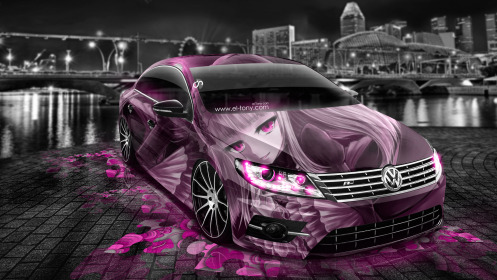 Volkswagen-Passat-CC-Tuning-Anime-Girl-Aerography-City-Car-2014-Pink-Colors-HD-Wallpapers-design-by-Tony-Kokhan-[www.el-tony.com]