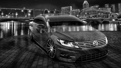 Volkswagen-Passat-CC-Tuning-Crystal-City-Car-2014-Art-Black-White-HD-Wallpapers-design-by-Tony-Kokhan-[www.el-tony.com]