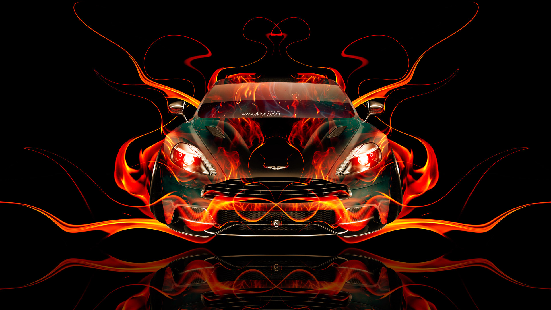 Incroyable Aston Martin Vanquish FrontUp Super Fire Abstract Car