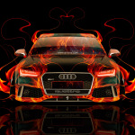 Audi RS7 Front Fire Abstract Car 2014