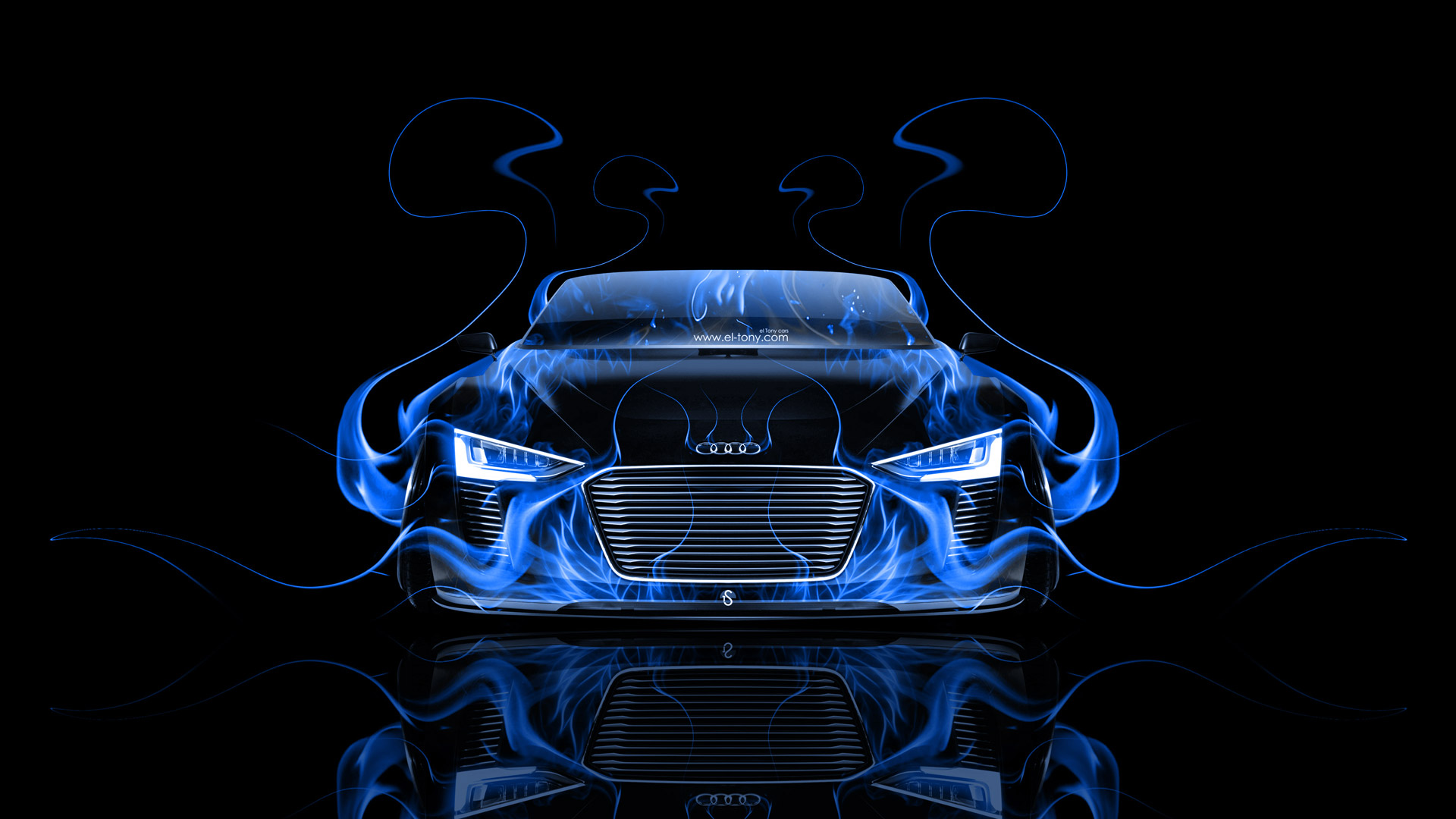 Audi E Tron Spyder Front Fire Abstract Car 2014 El Tony