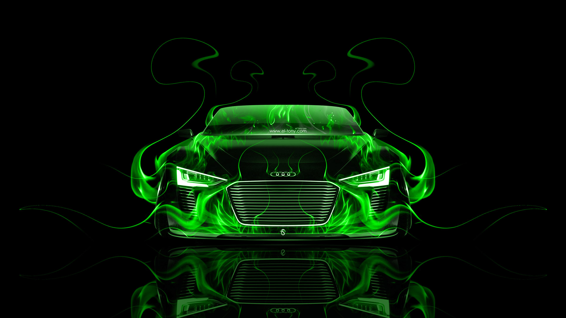 Captivating ... Audi E Tron Spyder Front Green Fire Abstract  ...