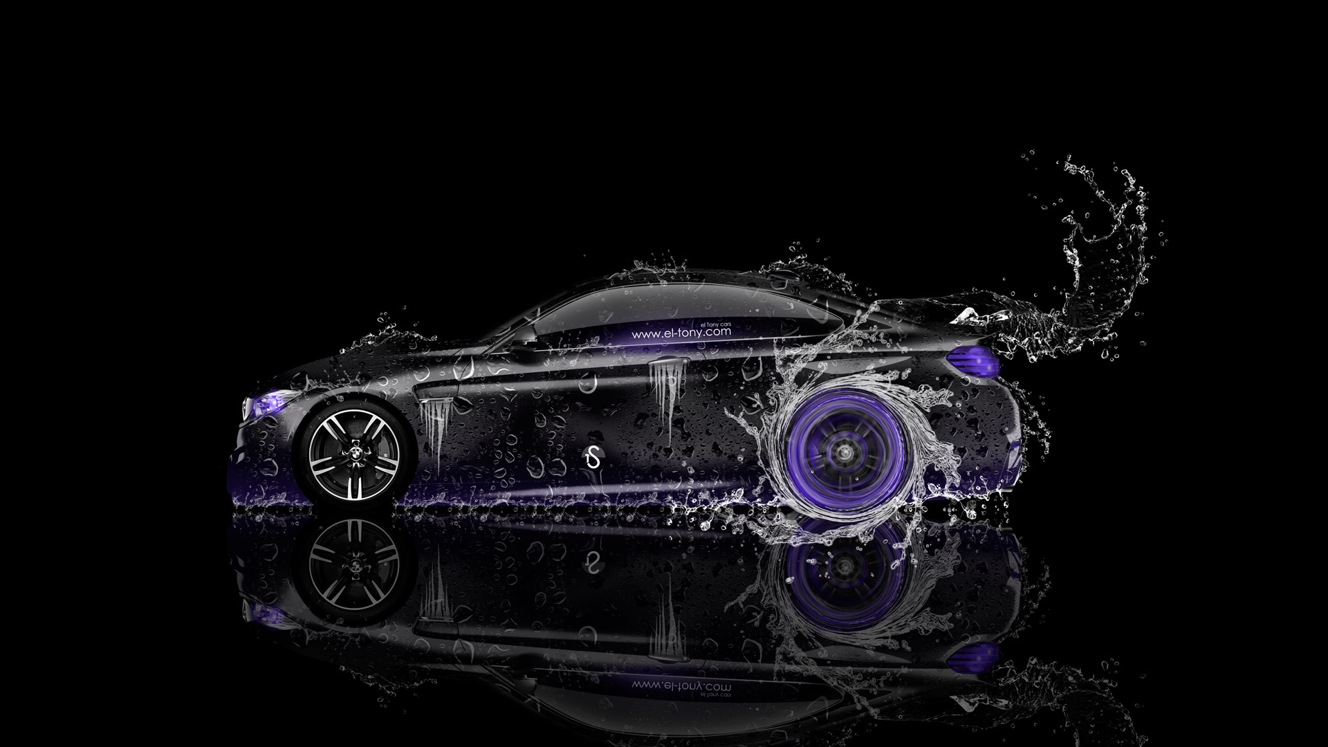 BMW M4 Coupe Side Water Car 2014 Violet  ...