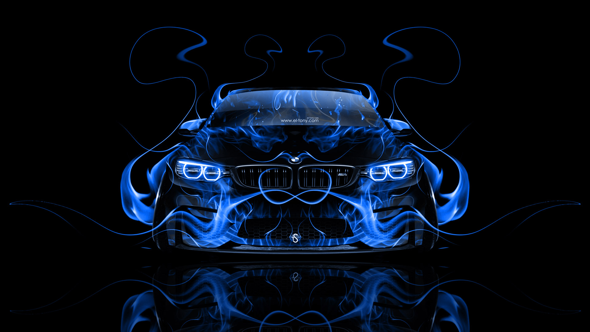Ordinaire ... BMW M4 Tuning Front Blue Fire Abstract Car  ...