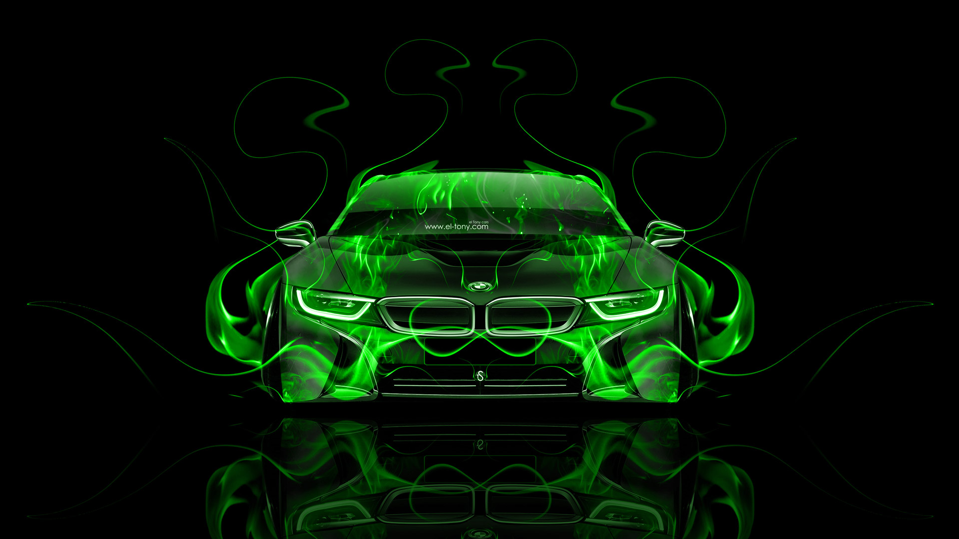 Bmw I8 Front Fire Abstract Car 2014 El Tony