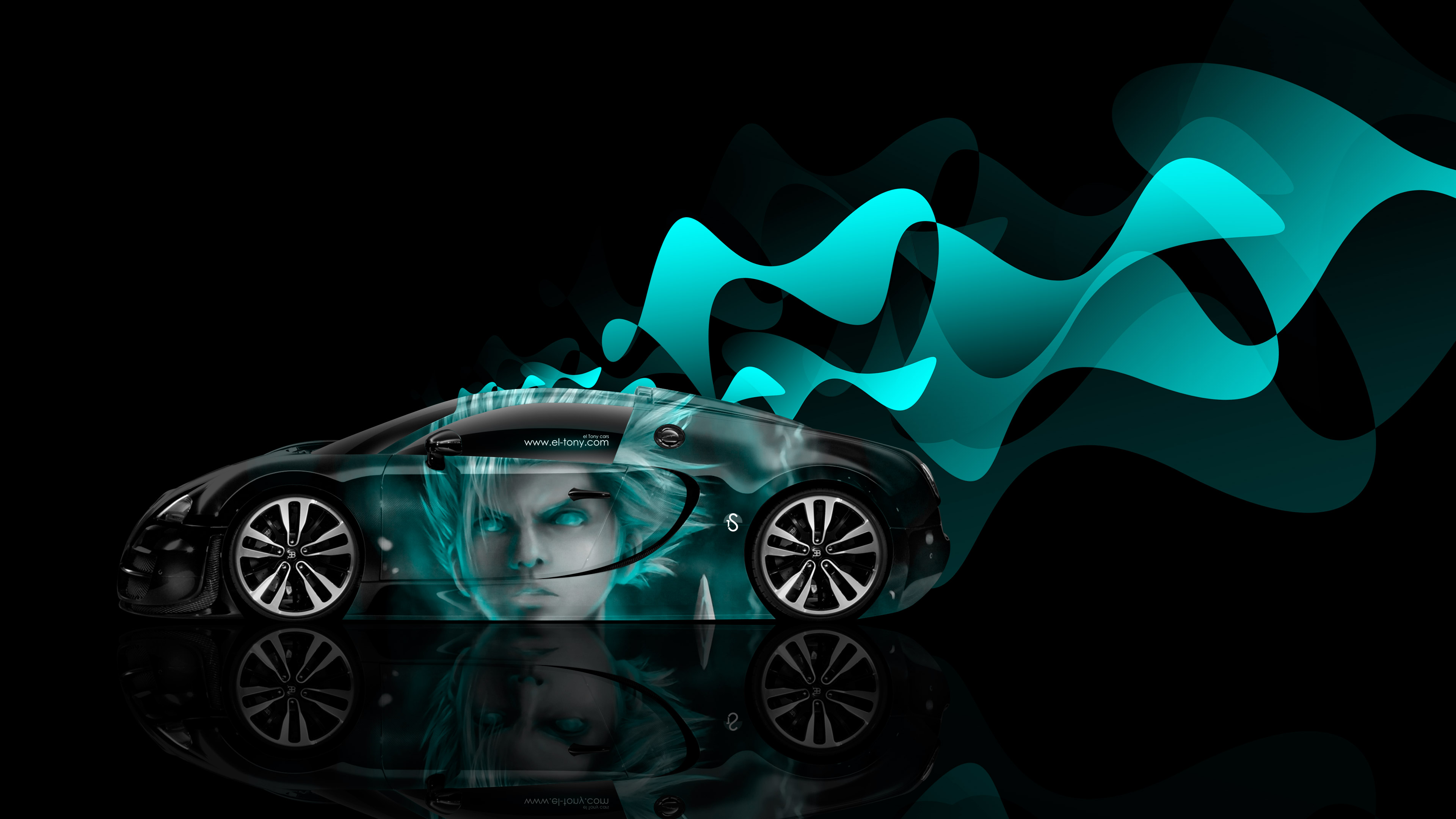 Veyron side anime aerography car 2014 fantasy azure neon effects