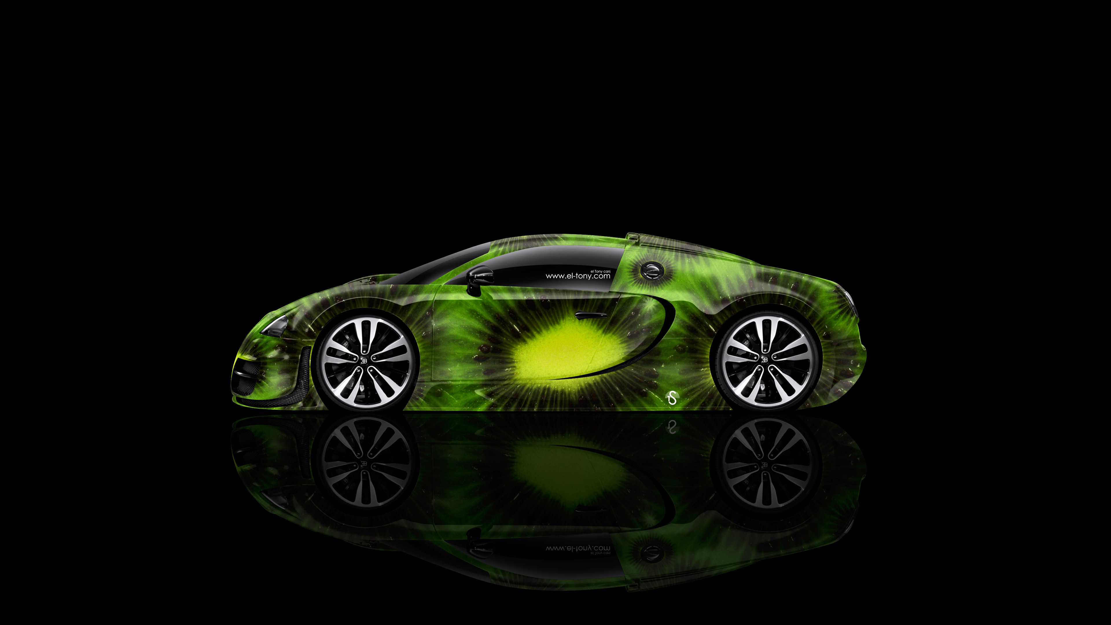 Bugatti Veyron Side Kiwi Aerography Car 2014 Green