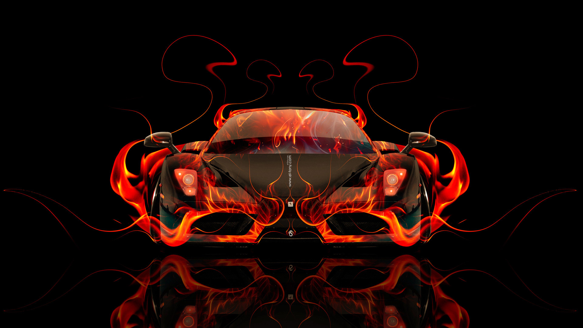 Exceptionnel ... Ferrari Enzo Front Fire Abstract Car 2014