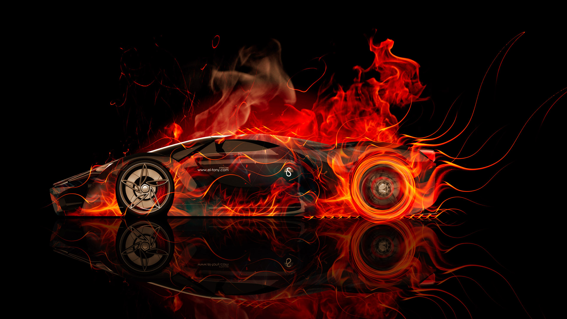Charming Ferrari F80 Side Fire Abstract Car 2014 HD  Pictures