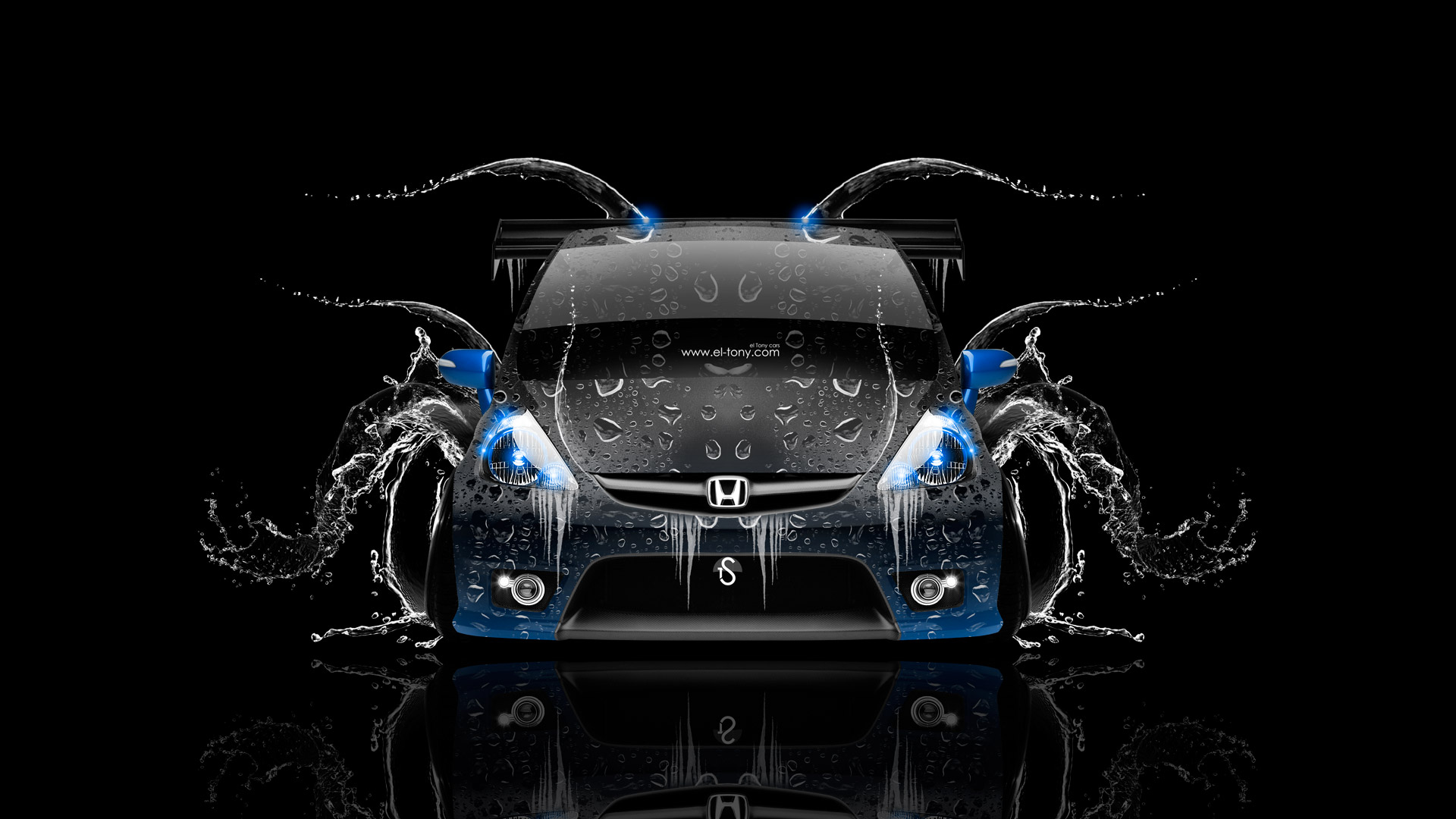 Honda-Fit-Tuning-JDM-Front-Water-Car-2014-Blue-Neon-HD-Wallpapers-design-by-Tony-Kokhan-[www.el-tony.com]