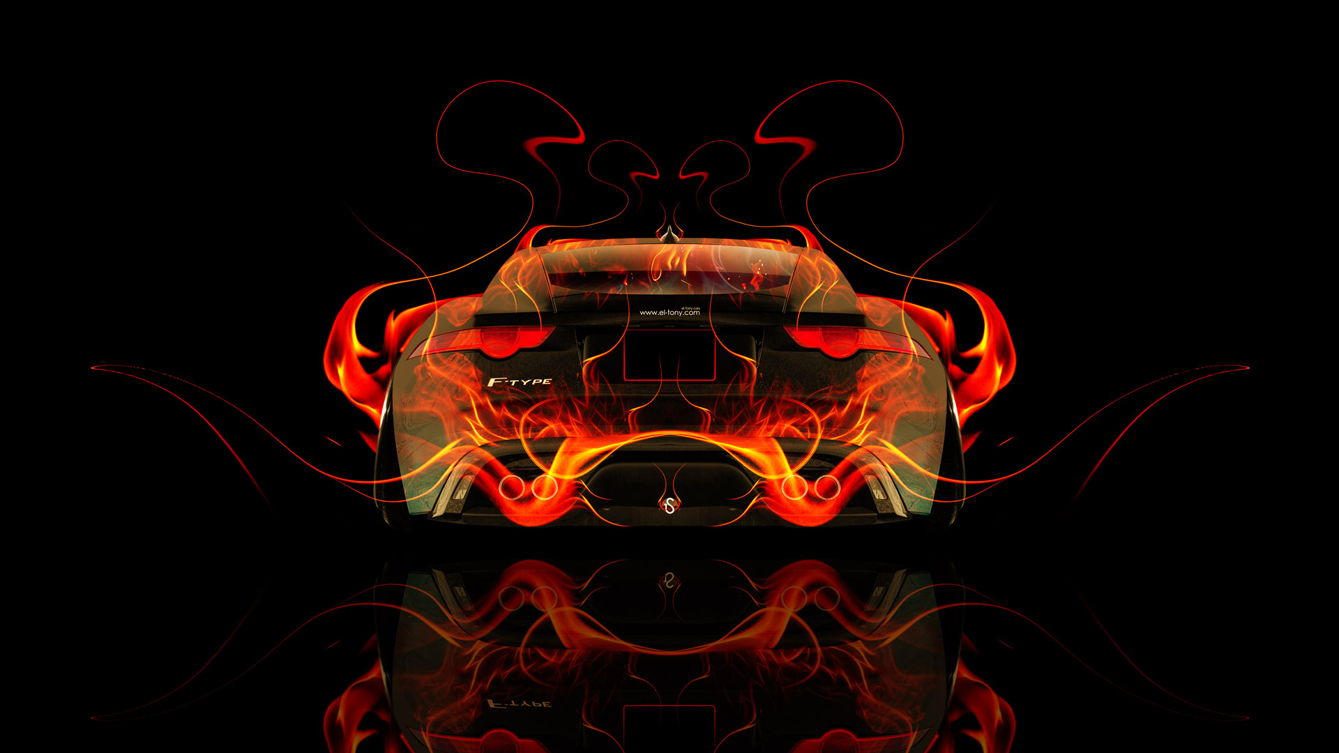 Jaguar-F-Type-Back-Fire-Abstract-Car-2014-HD-Wallpapers-design-by-Tony-Kokhan-[www.el-tony.com]