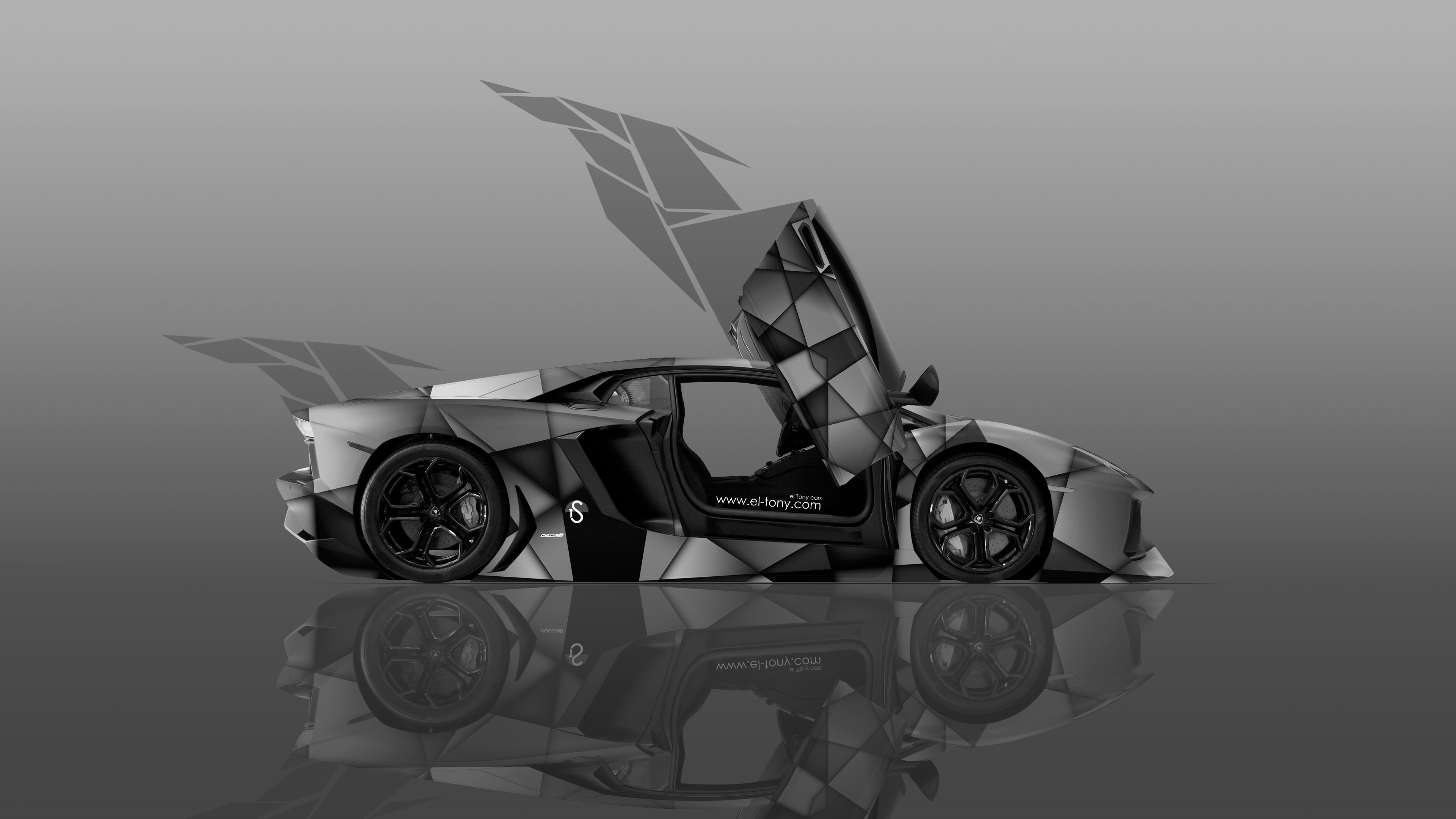 Bon ... Lamborghini Aventador Open Doors Side Transformer Abstract Car