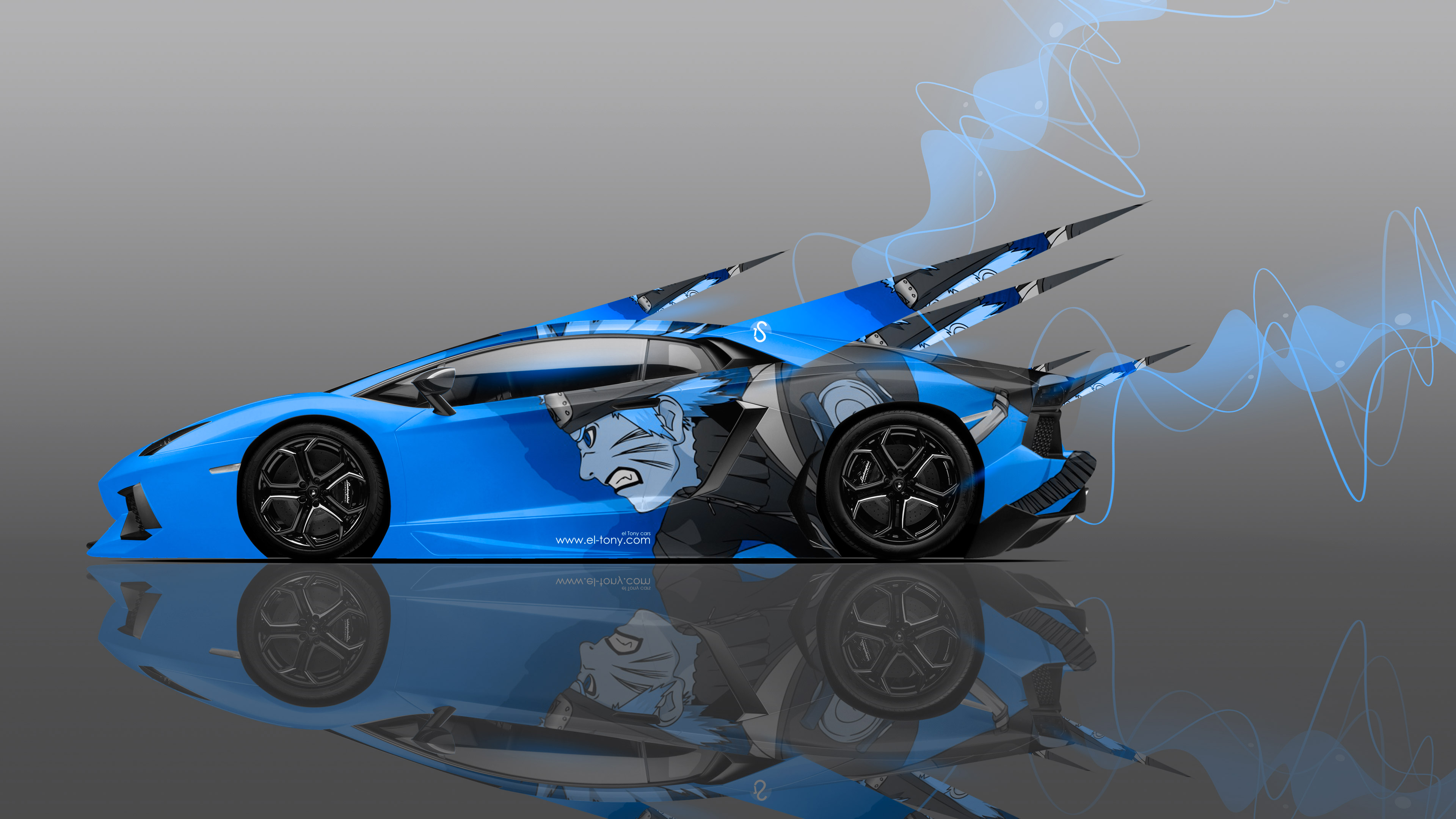 lamborghini aventador side anime naruto aerography car 2014