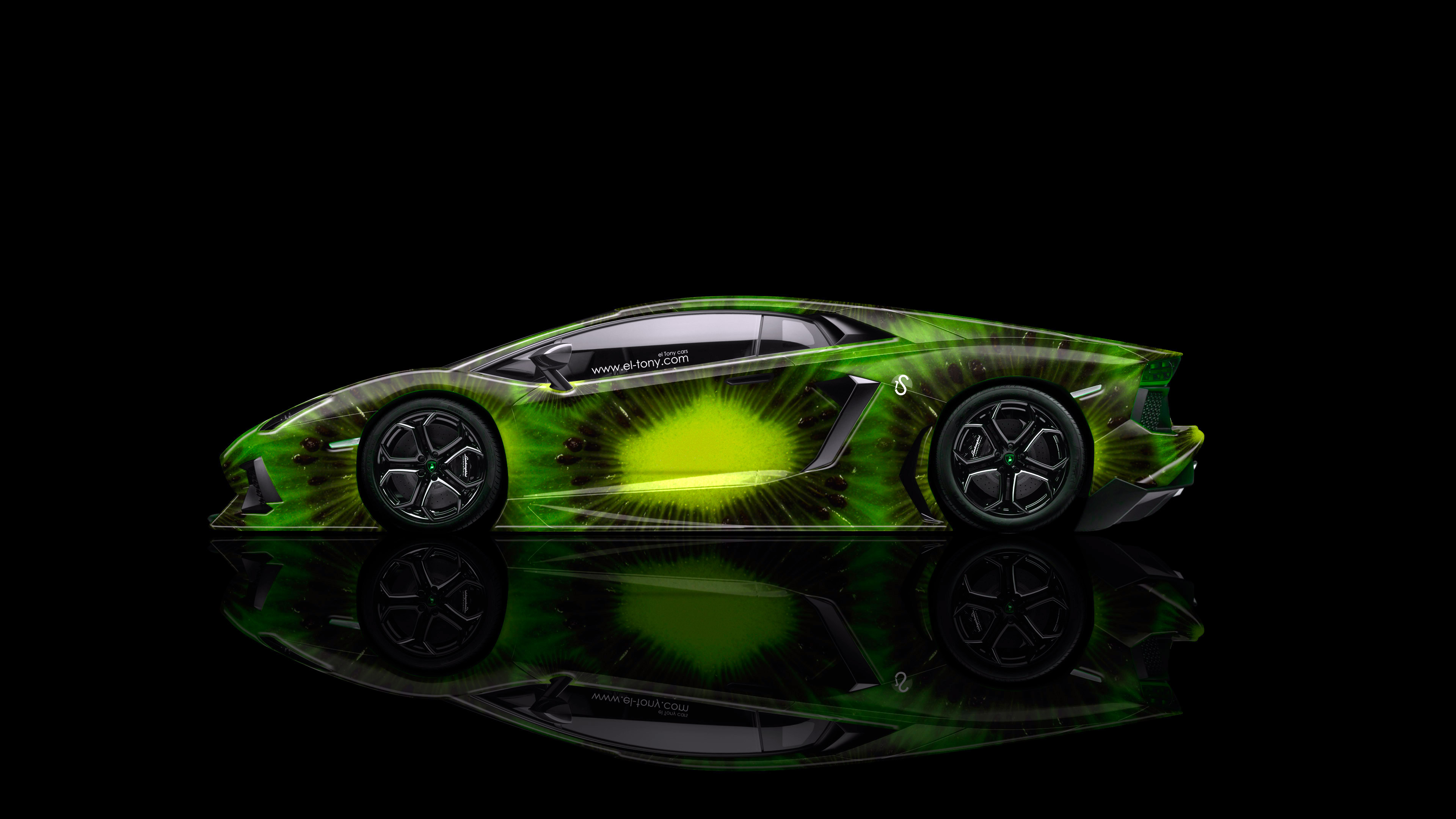 Bon Lamborghini Aventador Side Kiwi Aerography Car 2014 Green