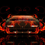 Lamborghini Countach Front Fire Abstract Car 2014
