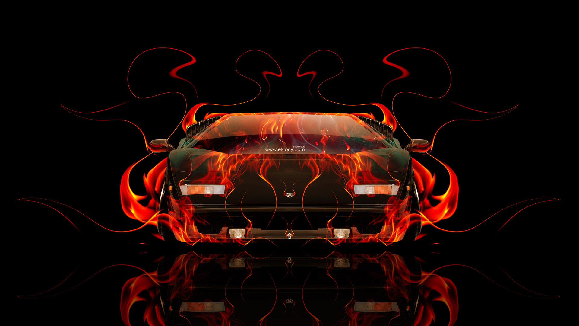 Lamborghini Countach Front Fire Abstract Car 2014 HD