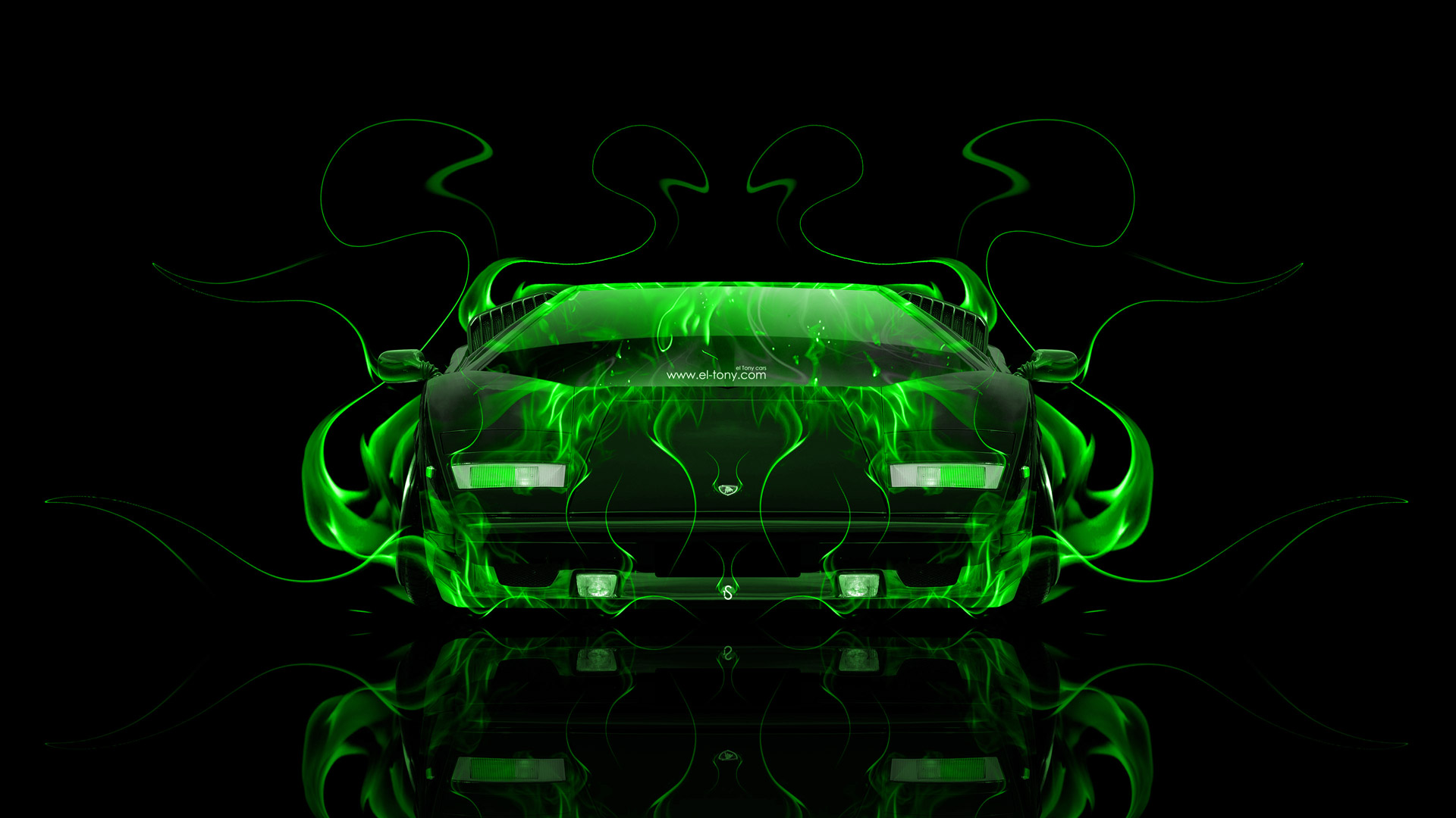 Lamborghini Countach Front Fire Abstract Car 2014 El Tony