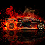 Lamborghini Sesto Elemento Side Violet Fire Abstract Car 2014
