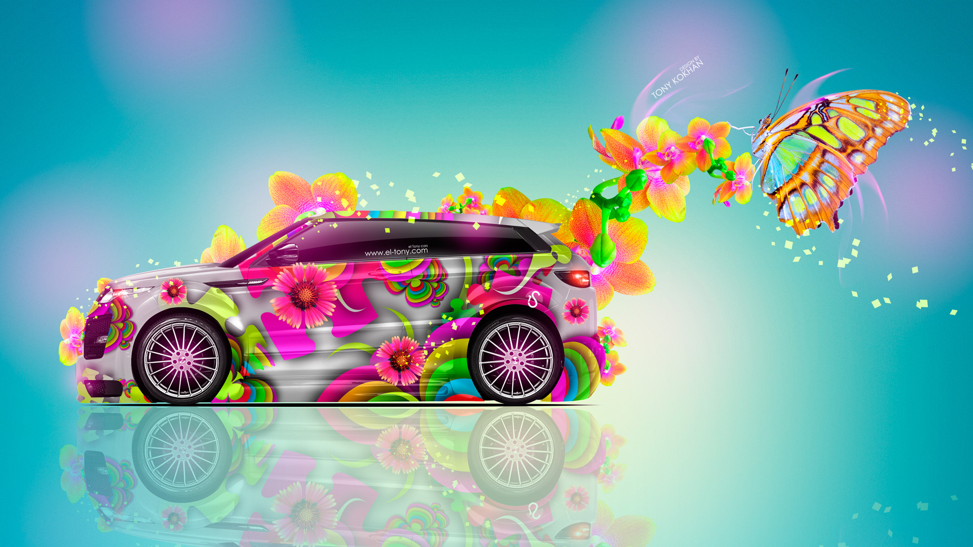 Merveilleux Land Rover Evoque Fantasy Butterfly Flowers Car 2014