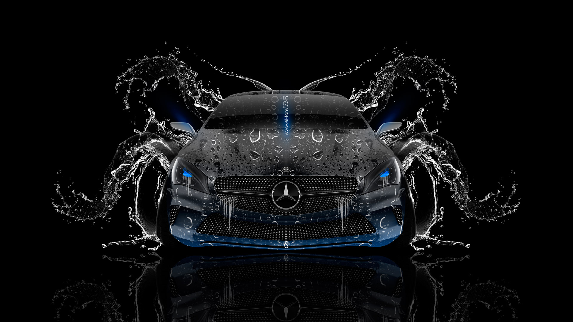 Mercedes Benz Coupe Front Water Car 2014 El Tony