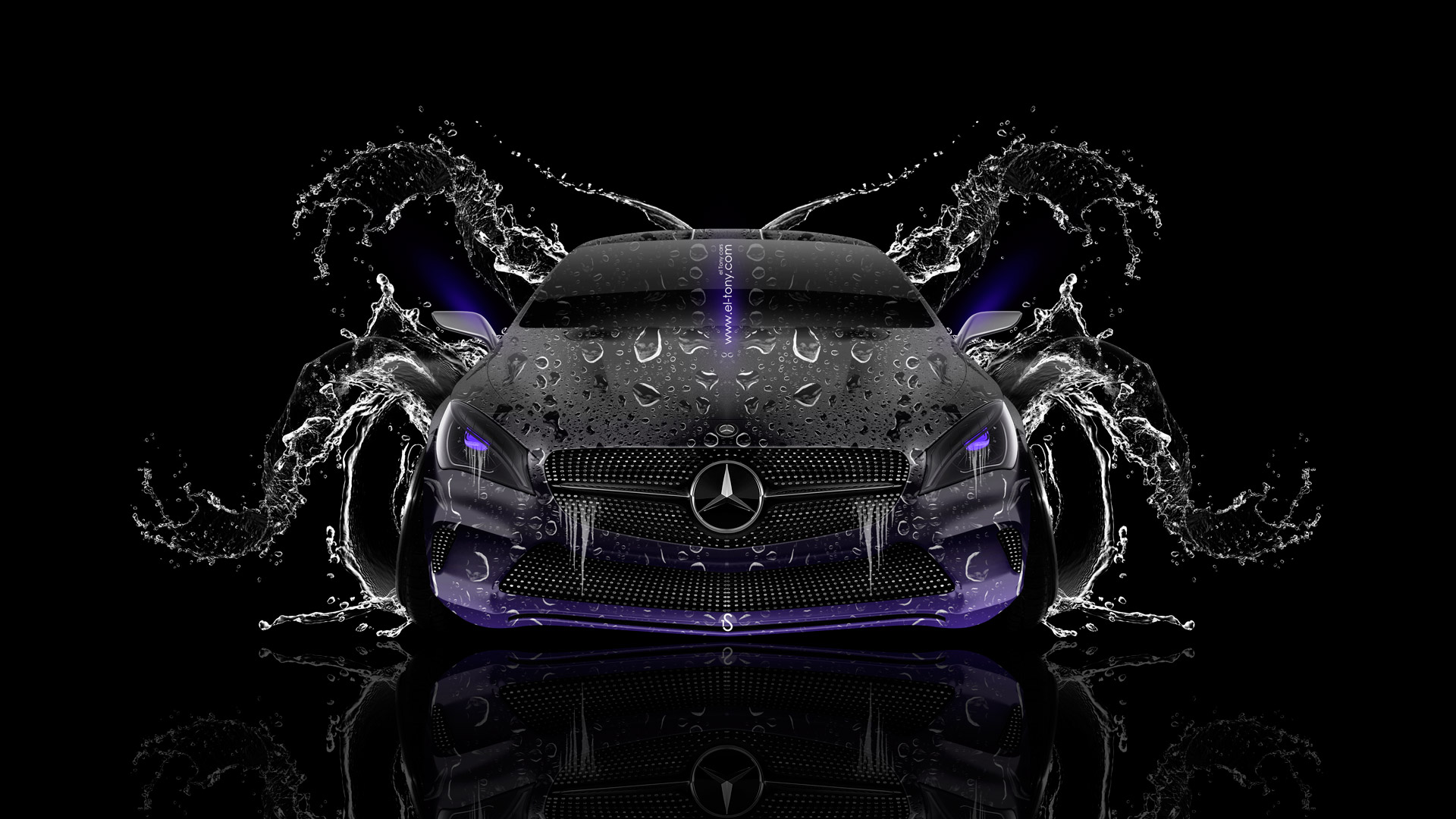 ... Mercedes Benz Coupe Front Water Car 2014