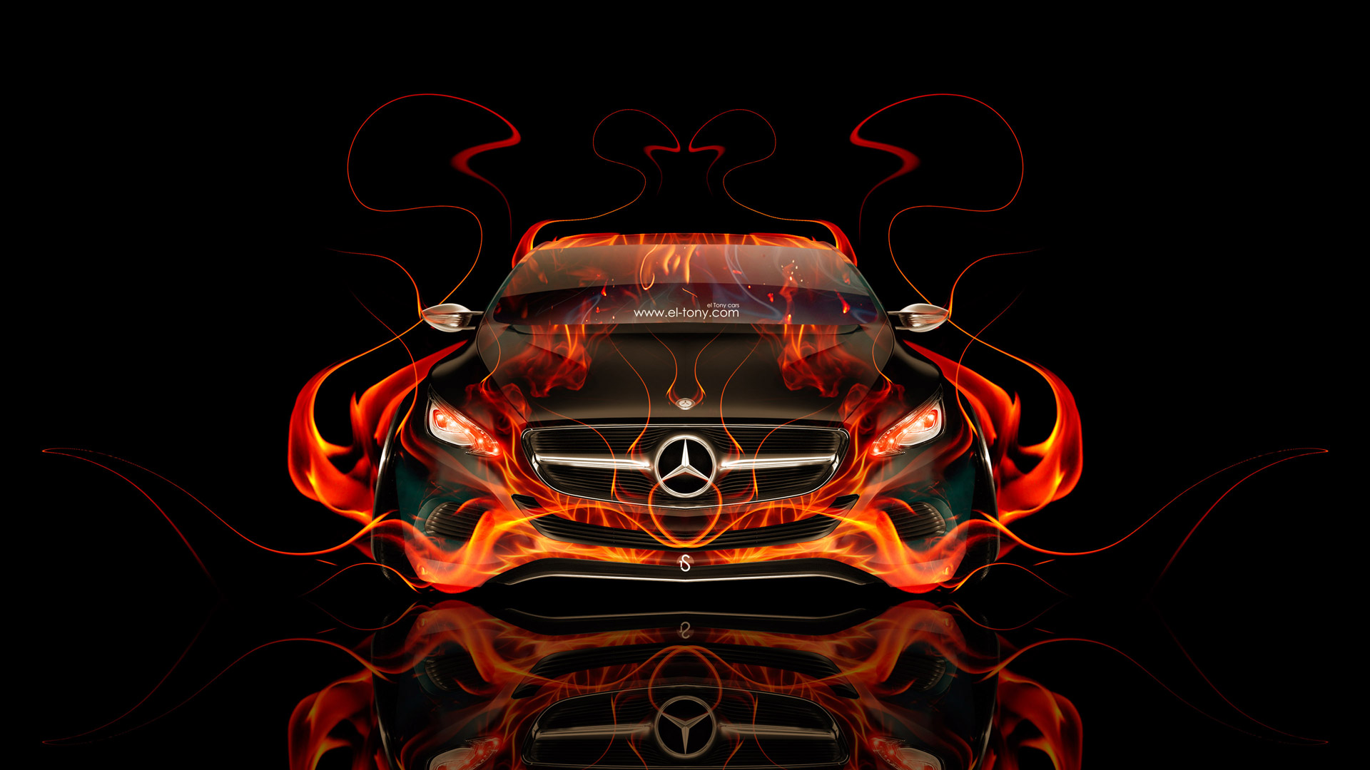 Elegant Mercedes Benz F800 Front Fire Abstract Car 2014