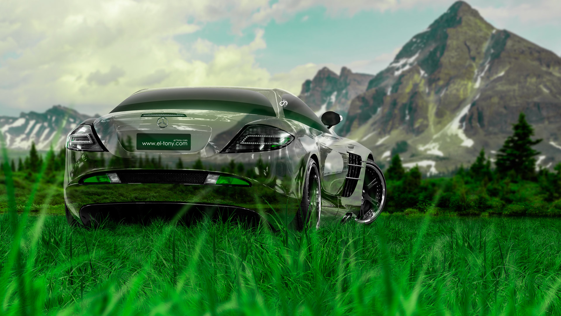 Mercedes-Benz-SLR-McLaren-Crystal-Nature-Car-2014-Art-Green-Grass-HD-Wallpapers-design-by-Tony-Kokhan-[www.el-tony.com]