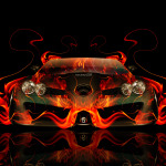 Mercedes-Benz SLR McLaren Front Fire Abstract Car 2014