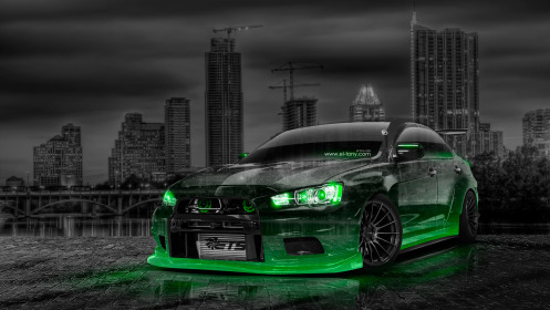 Mitsubishi-Lancer-Evolution-X-Tuning-JDM-Crystal-City-Car-2014-Green-Neon-HD-Wallpapers-design-by-Tony-Kokhan-[www.el-tony.com]