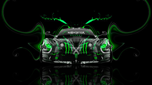 Monster-Energy-Ferrari-Laferrari-Front-Plastic-Car-2014-Green-Neon-Effects-HD-Wallpapers-design-by-Tony-Kokhan-[www.el-tony.com]